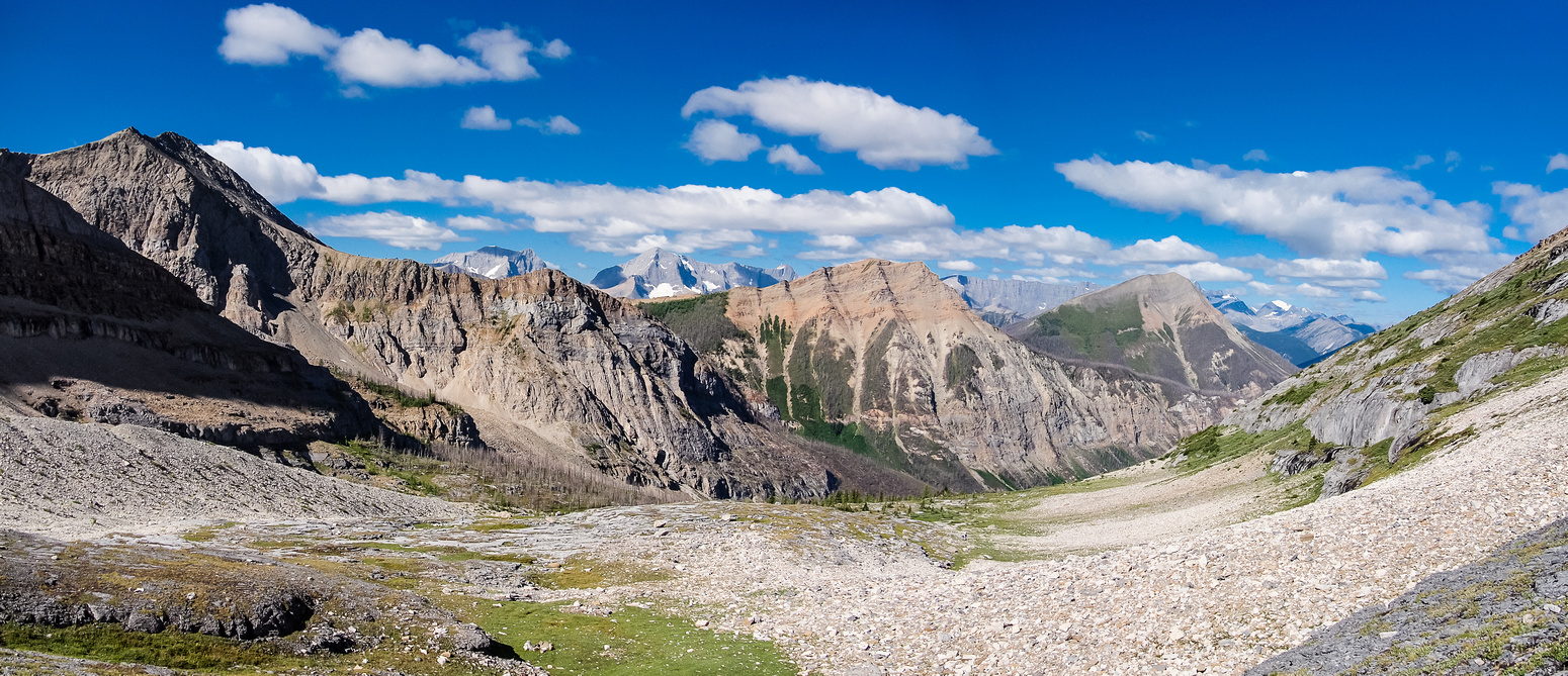 Looking back down valley towards Haffner (L) and Vermillion (R).