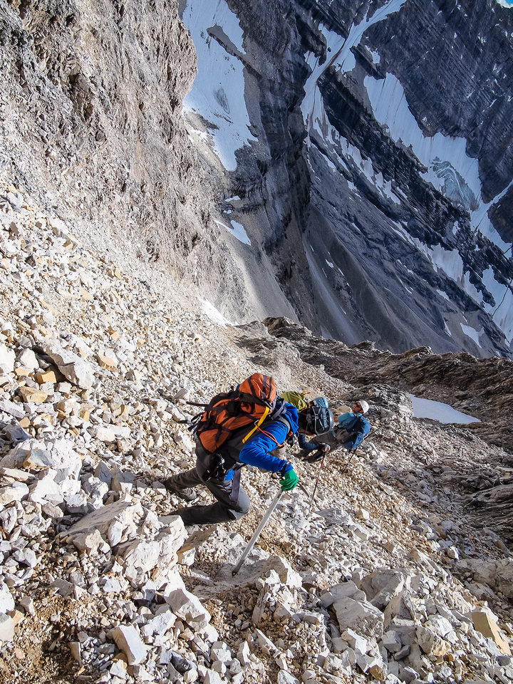 The steep and loose exit gully under the summit of Beatrice.