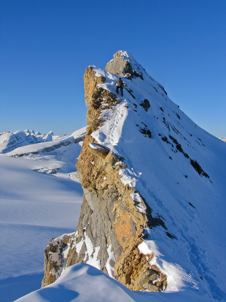 The exposed summit ridge of St. Nicholas Peak.