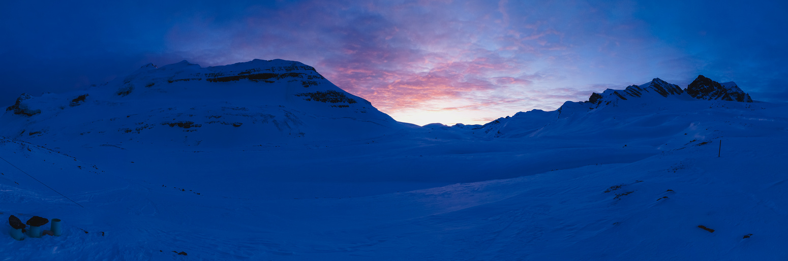Balfour at sunset from near the hut - Olive at far right.
