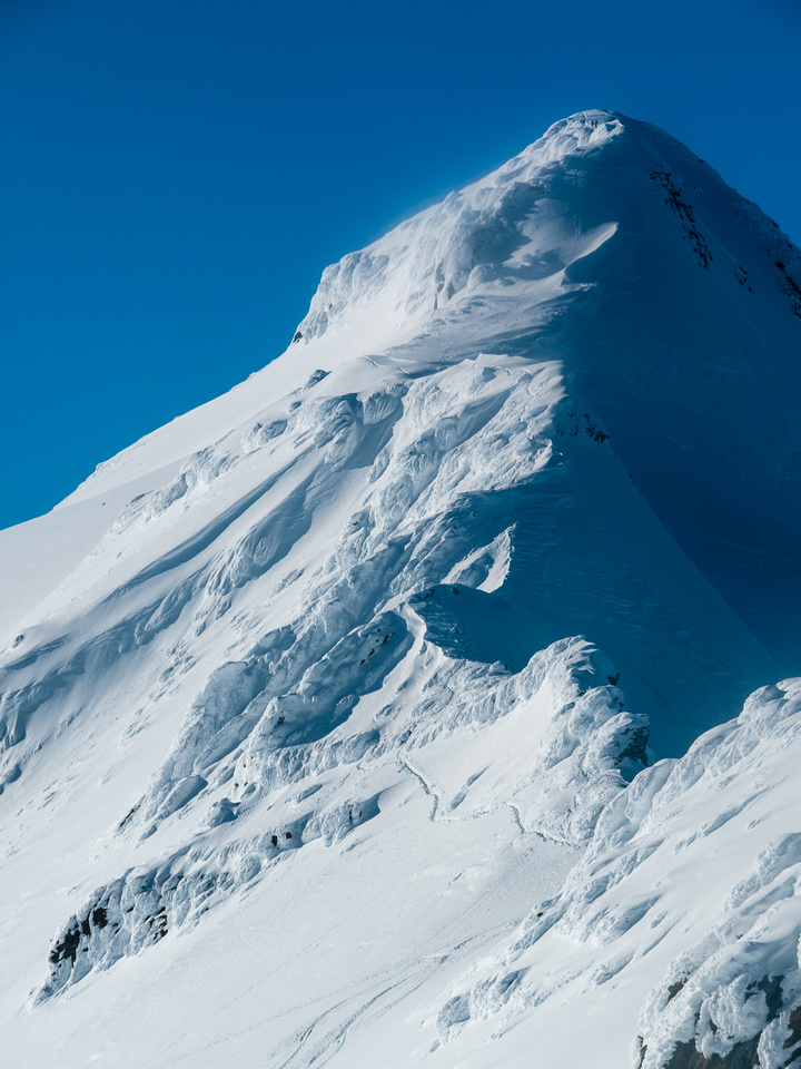 The couple from Revelstoke are barely visible on the massive ridge (right near the top).