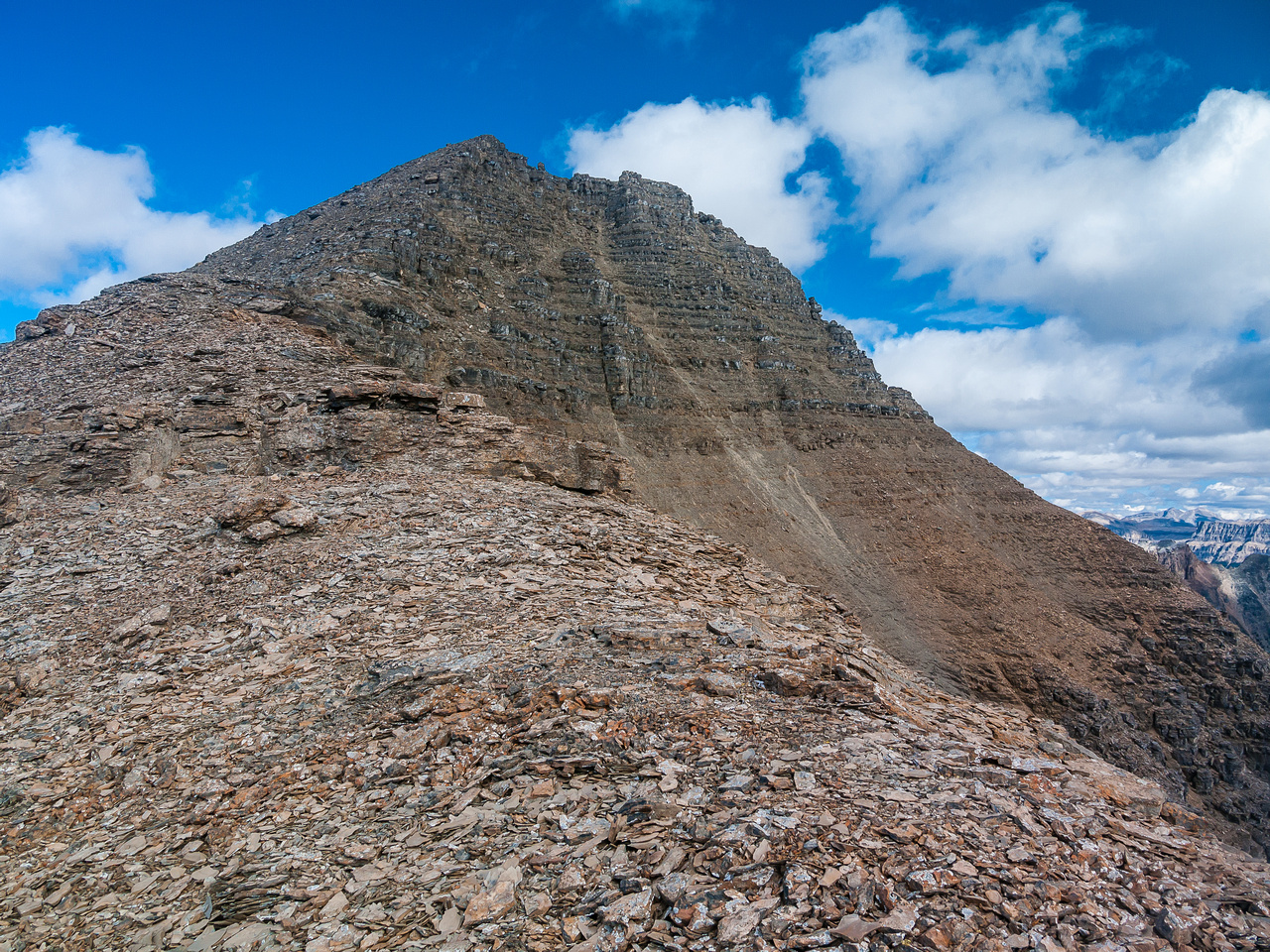 An easy plod to the summit up the south ridge.