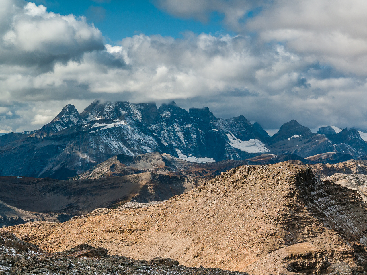Looking over Mount Sharp towards the Goodsirs buried in cloud.