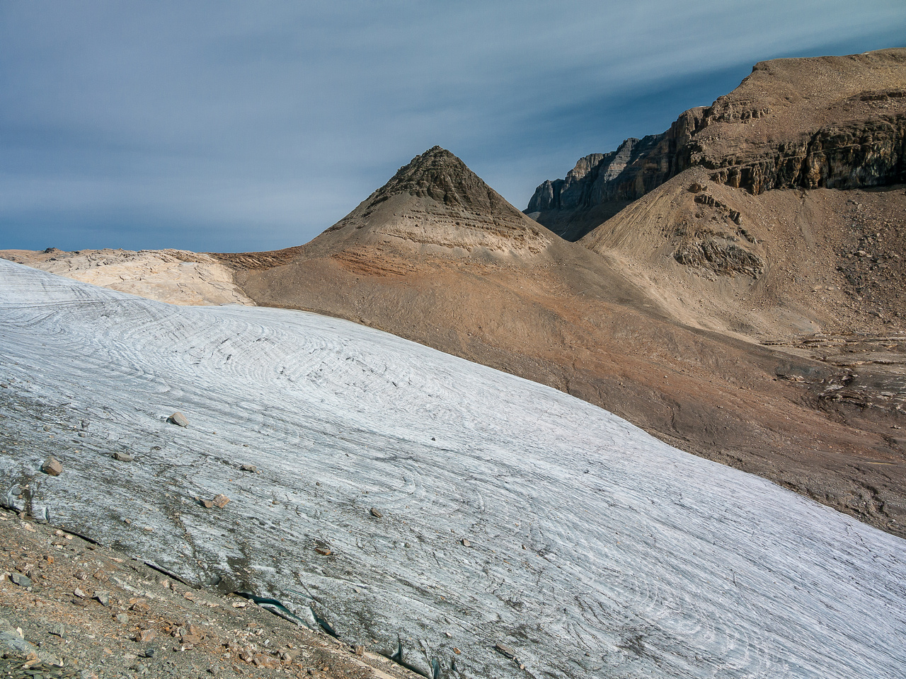 The tame glacier and pyramid that we must traverse before ascending Daly.