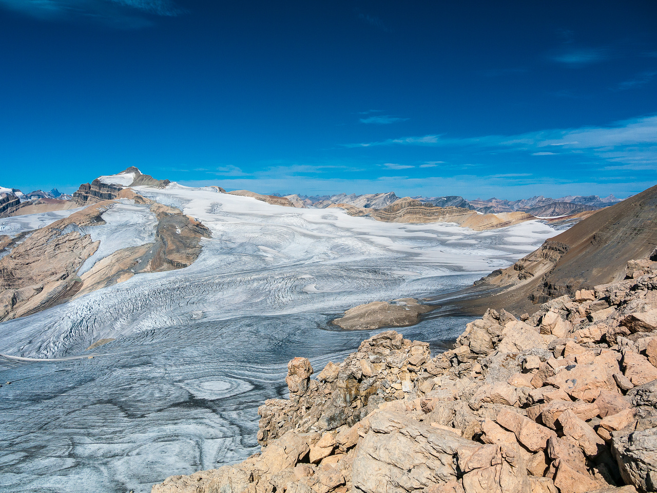 An incredible view of Mount Balfour and the Waputik Icefield.