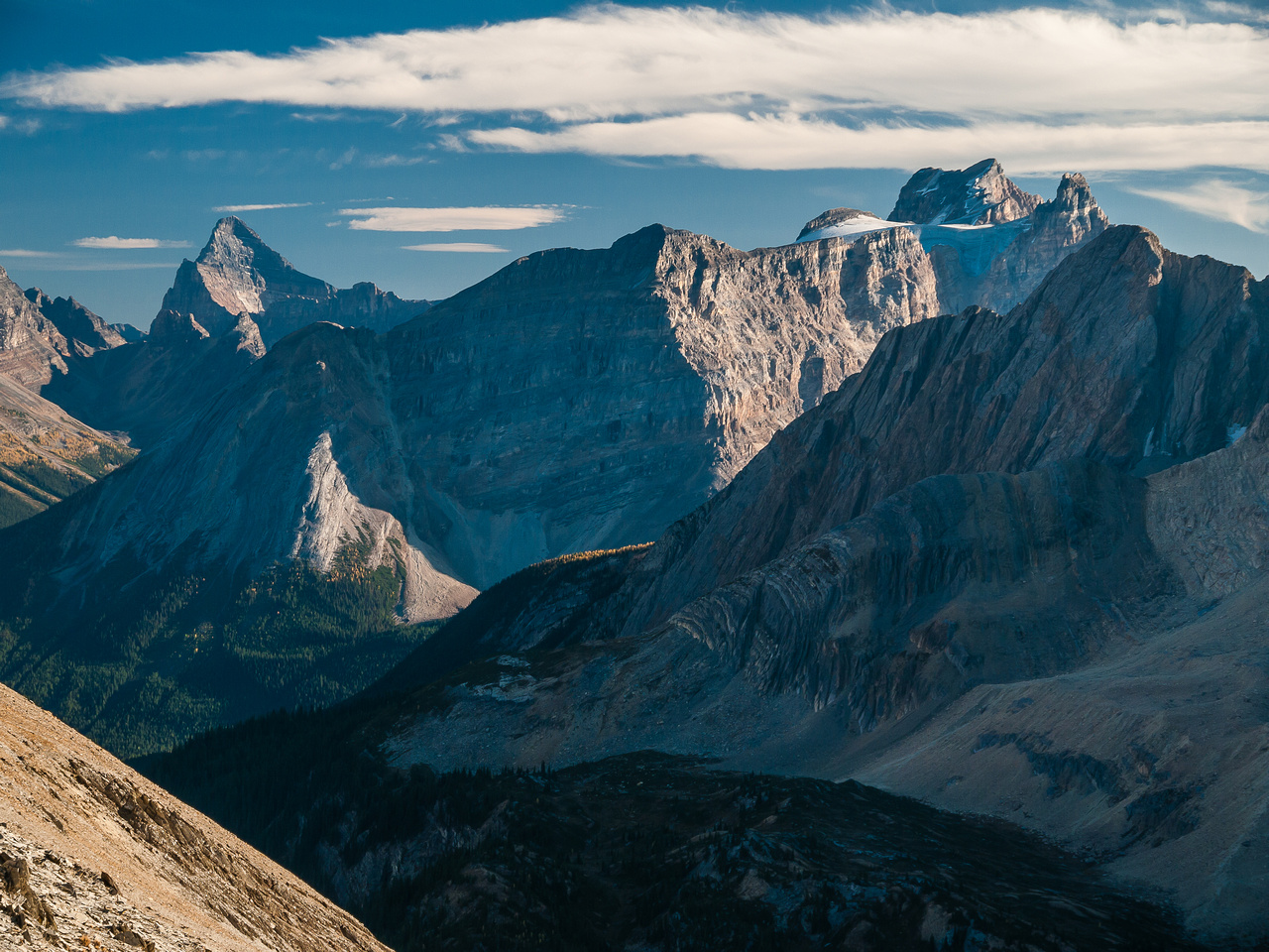 Impressive view of Cathedral Mountain (R).