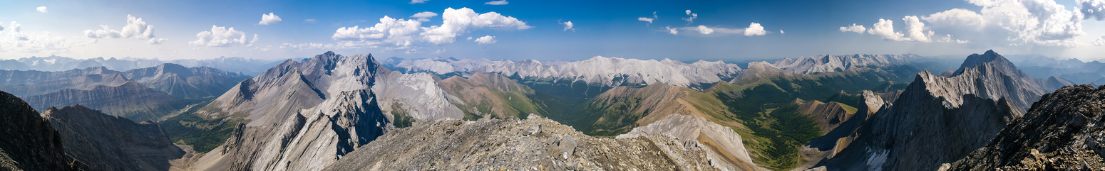 Mist Creek and the Highwood Range at left, Mist left of center and Storelk, Tyrwhitt, Pocaterra, Highwood Ridge, Arethusa and Mount Rae.