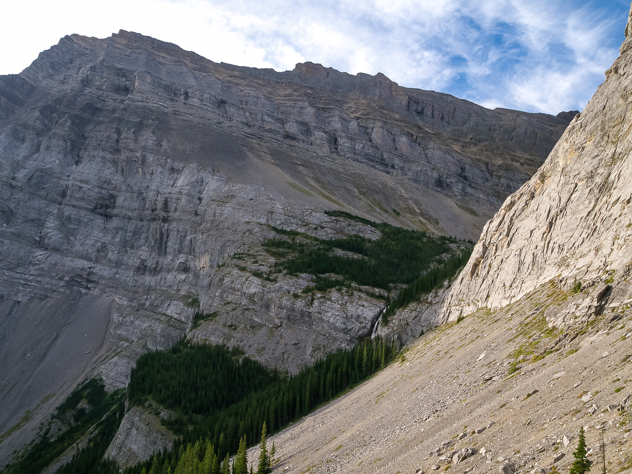 Looking back at the hiking route to Ribbon Lake and the upper part of Ribbon Falls going down the headwall.