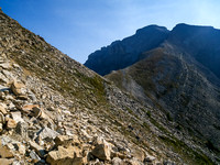 After traversing around the scree you see how far you still have to go! Make sure you follow the cairns with orange flagging or you will get off route.