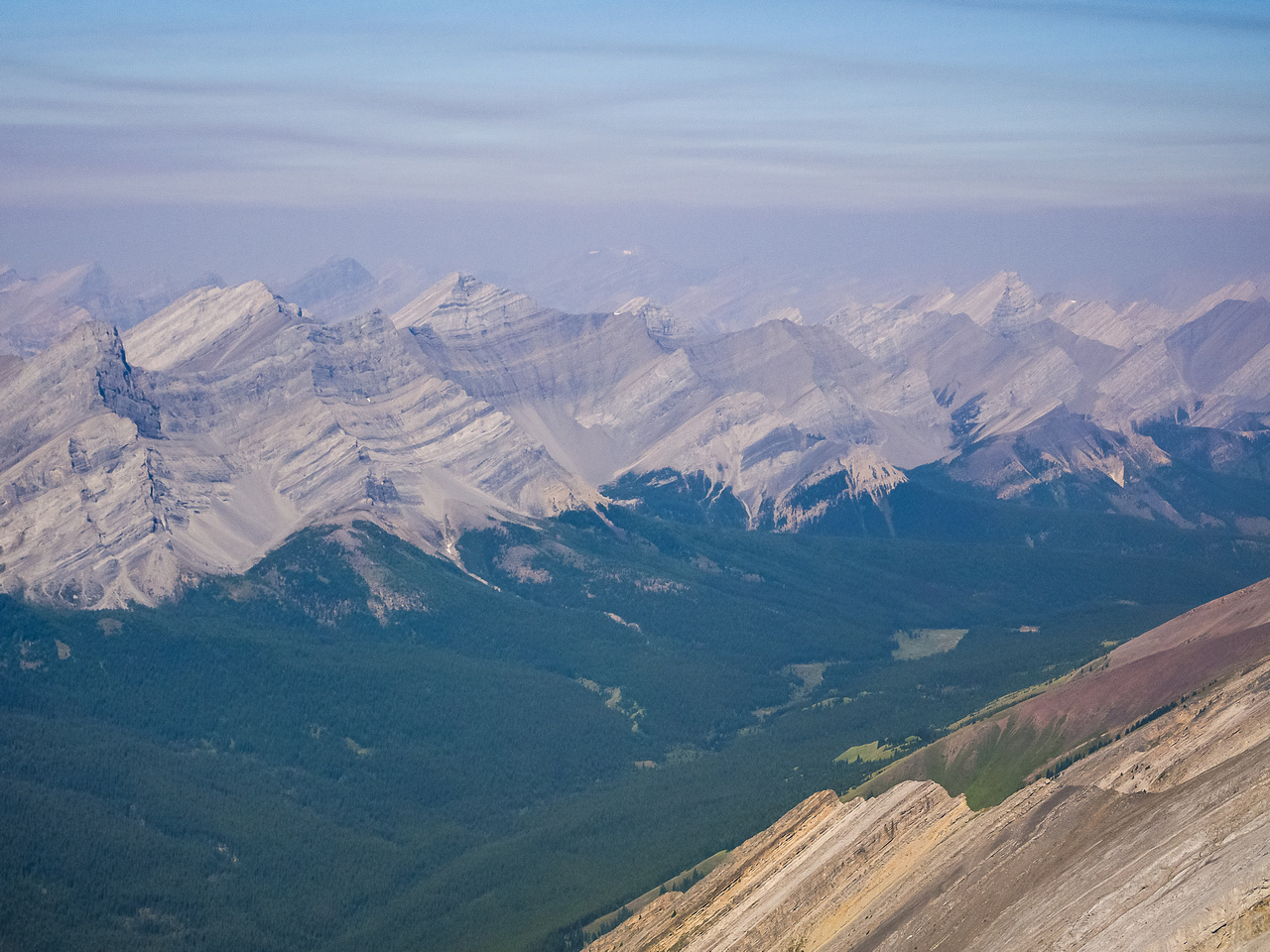 Looking up the Vermilion Range to Elk Pass (R).