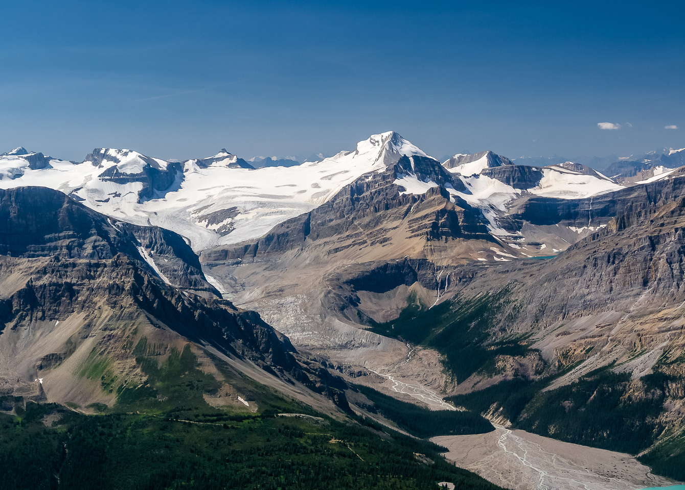 View up the Peyto Glacier to Habel, Ayesha, Baker, Peyto and Trapper.