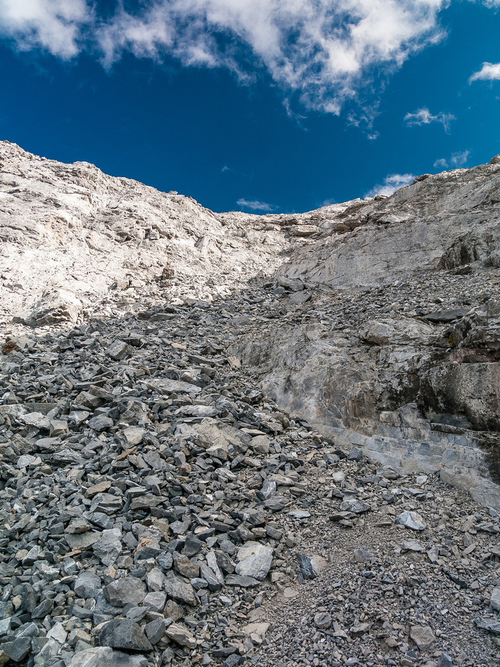 The first part of the descent down the west face of Inglismaldie is definitely moderate scrambling and is extremely loose.