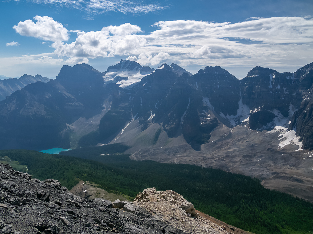 Part way up the east ridge of Eiffel, looking back down my ascent route at left and even a glimpse of Moraine Lake at center left with Mount Fay looming above.