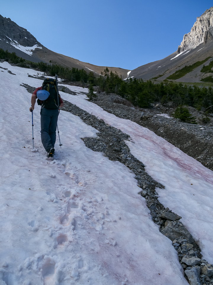 Using thin lines of snow helped us immensely on the lower part of the scramble.
