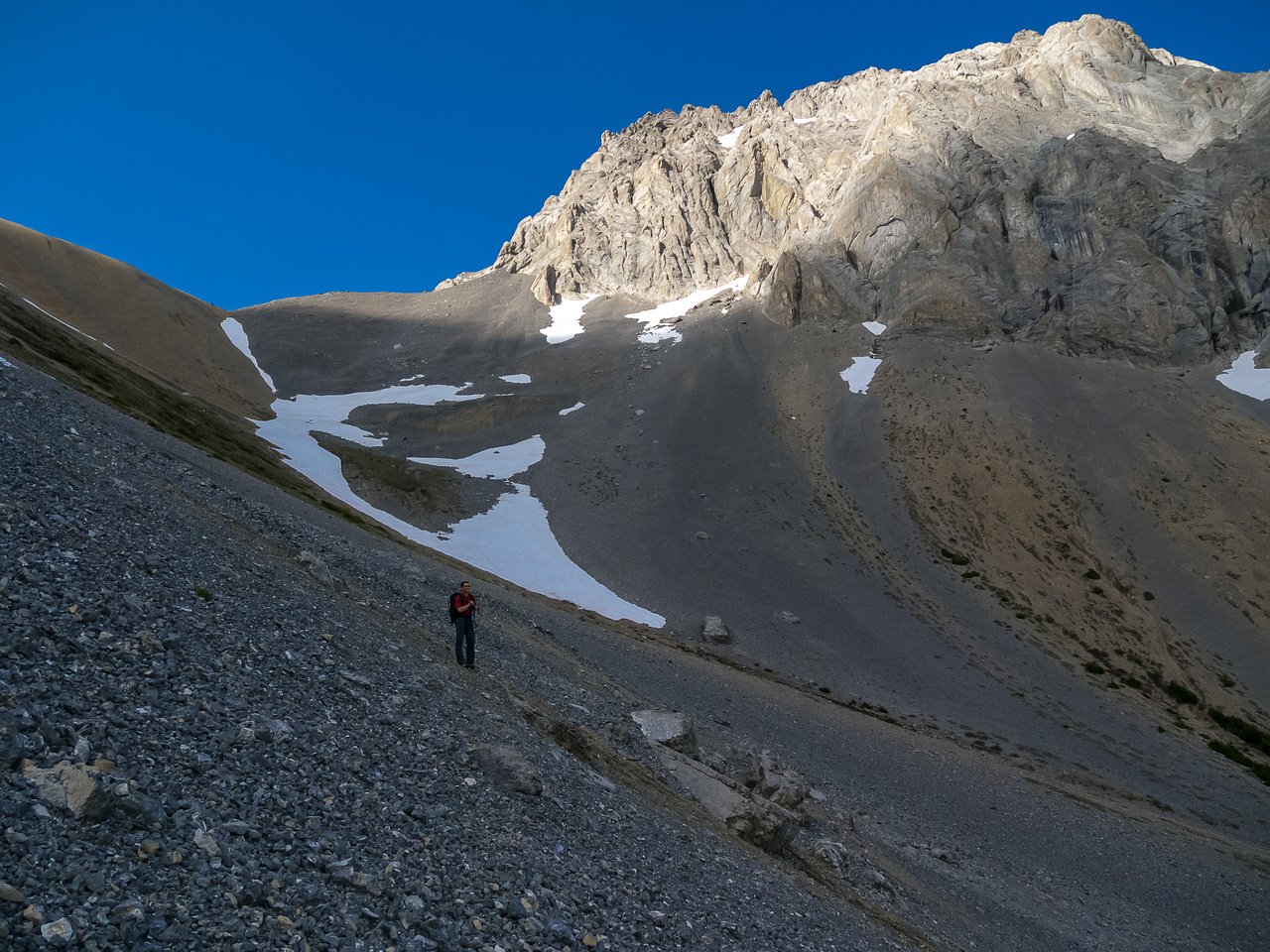 Slogging up to the col.