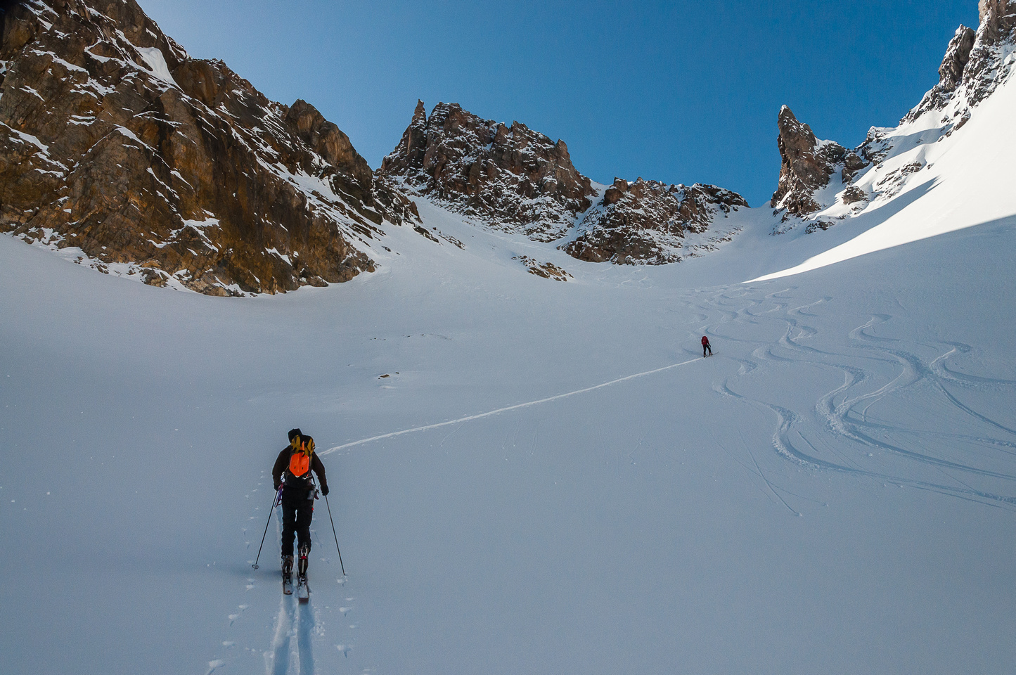The terrain here is much steeper than it appears as we near the col.