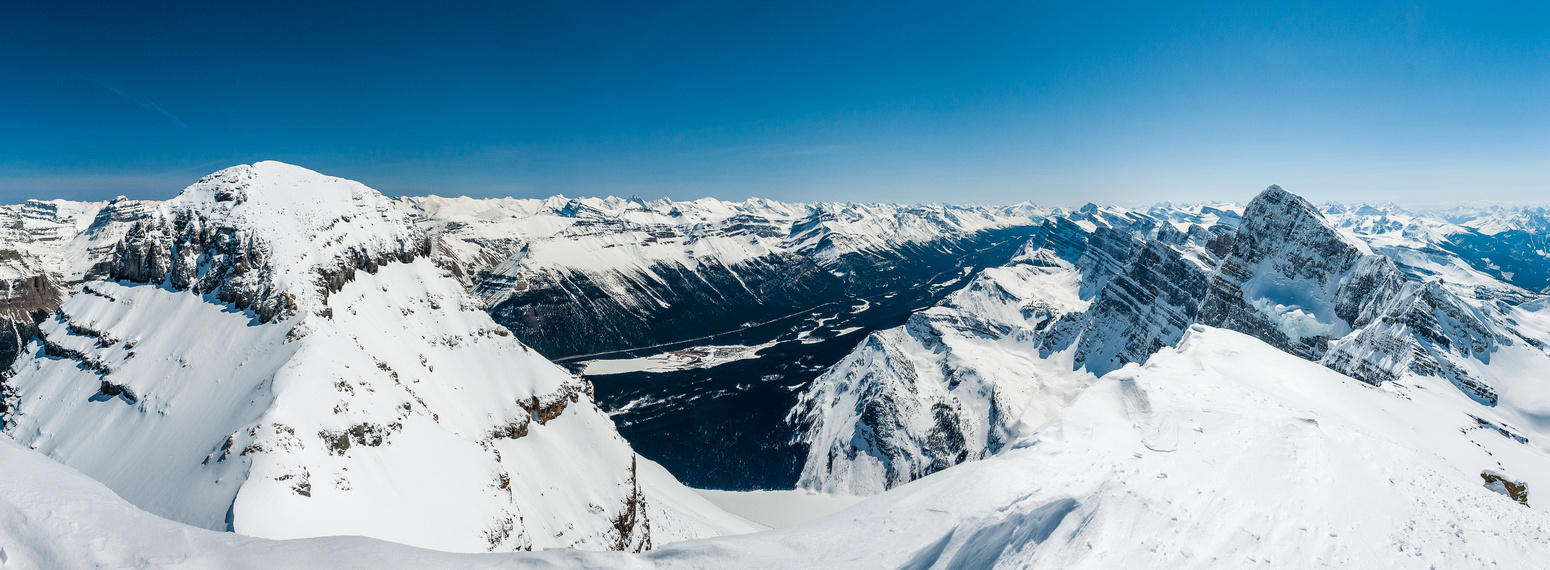 Chephren at left, Howse at right with the Icefields Parkway far below.