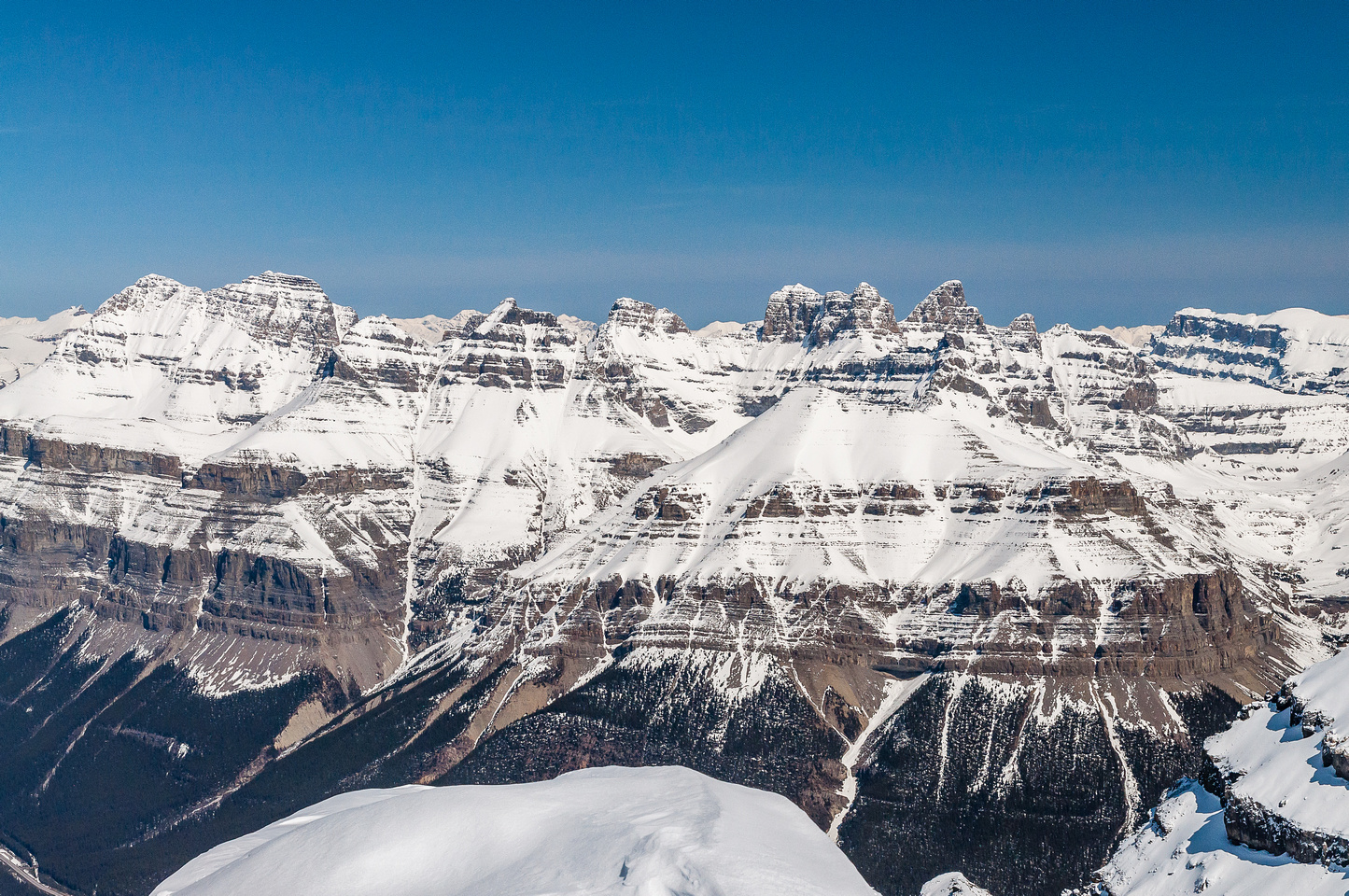 The whole Murchison Massif is quite big and includes many towers and sub summits. Bison Peak is hidden in front of it here.