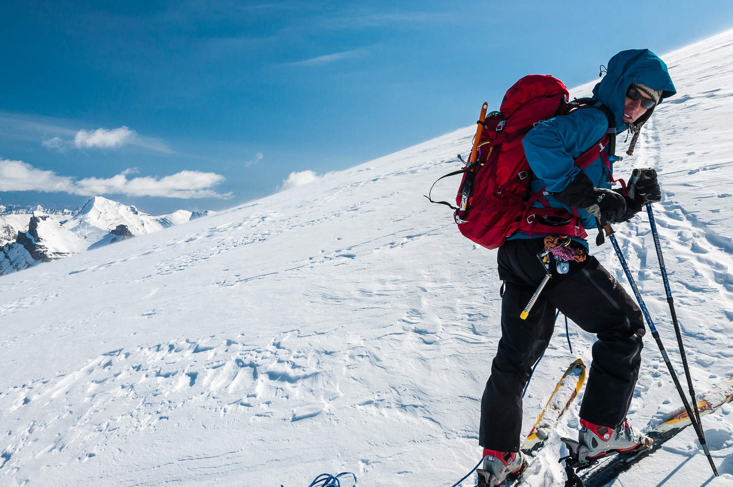 Skinning the upper Hector Glacier.