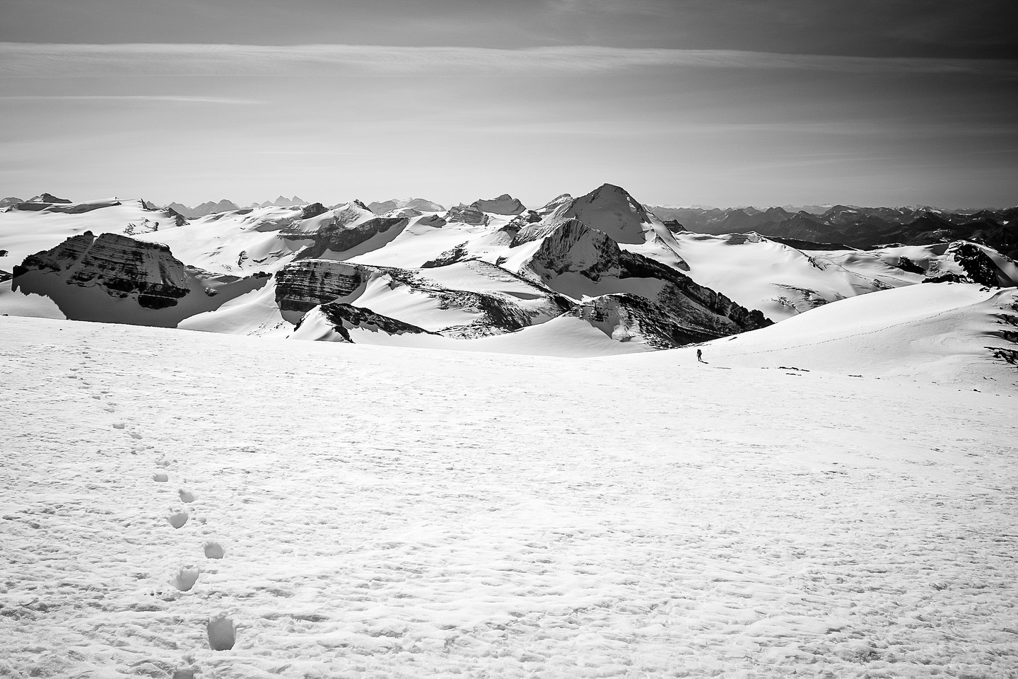 Raf comes up to the summit behind me in this view towards the Wapta Icefield including Peyto, Trapper and Baker. Balfour in the distance.