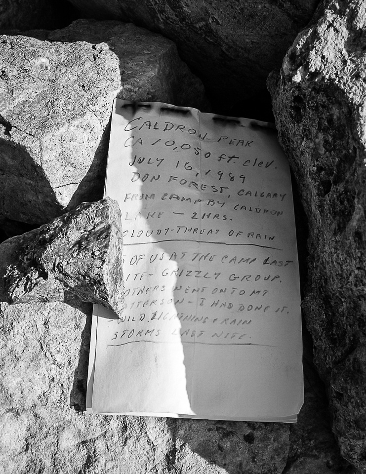 Old summit register.