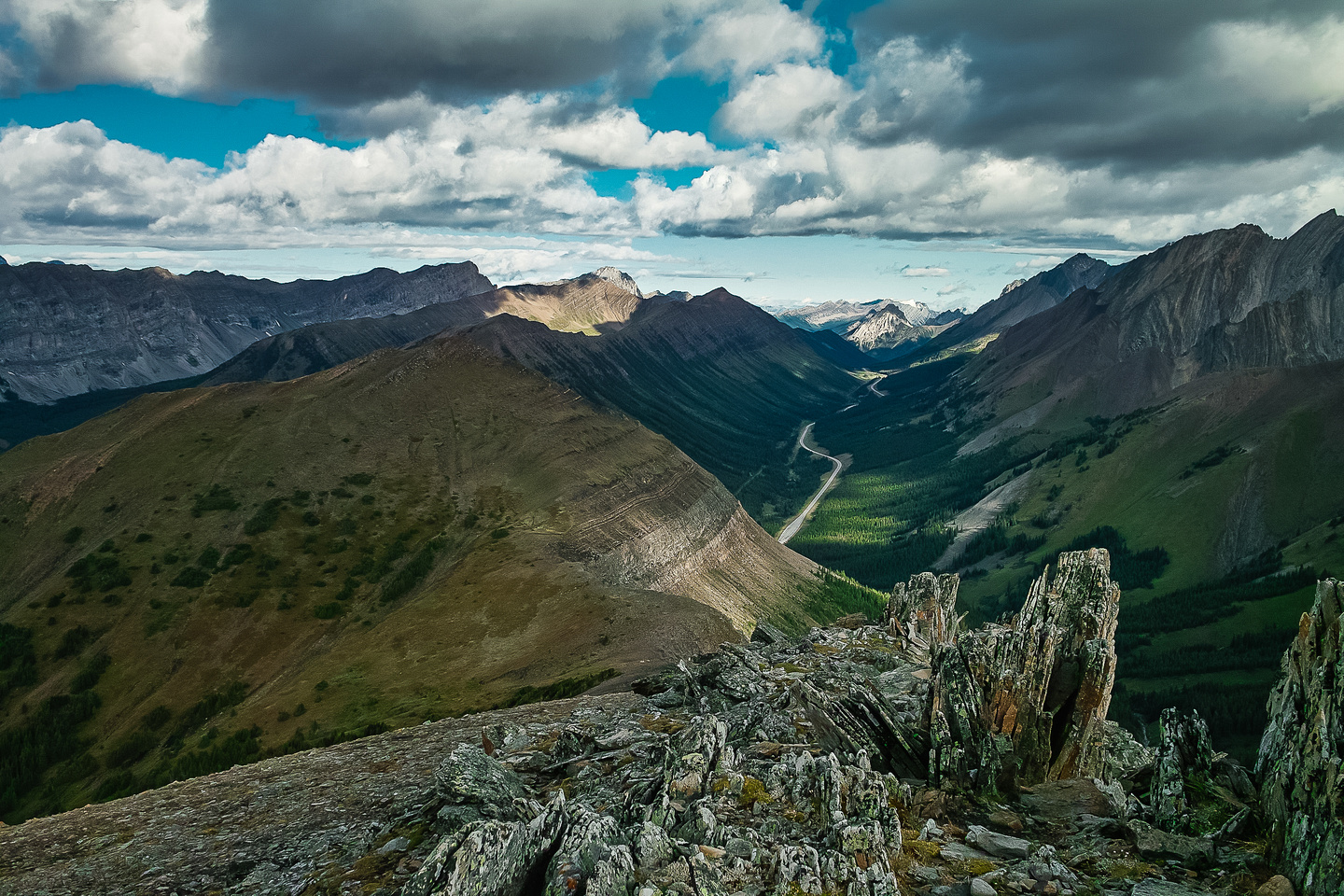 Highwood and Grizzly Ridges at left with Tyrwhitt at far left. Mount Rae in the distance at right.