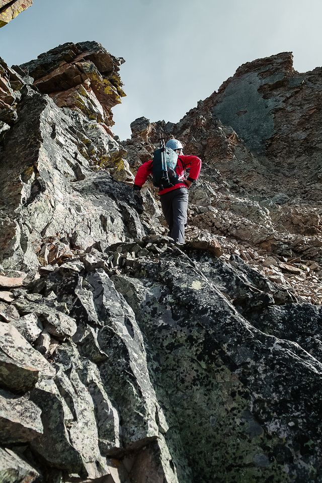 There are steep sections and some route finding to keep the scrambling moderate.
