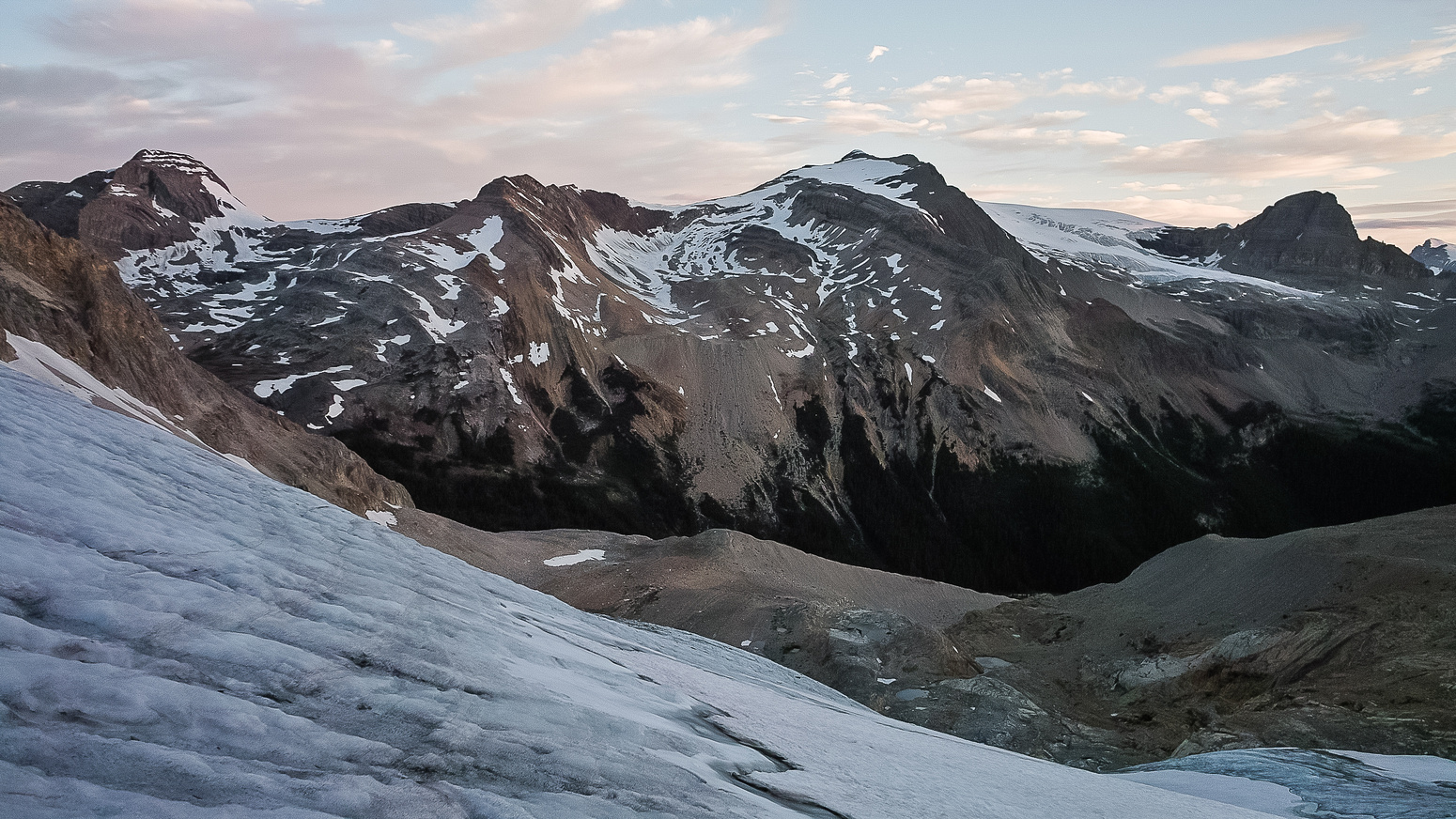 Looking back down the glacier - morning light just starting now.