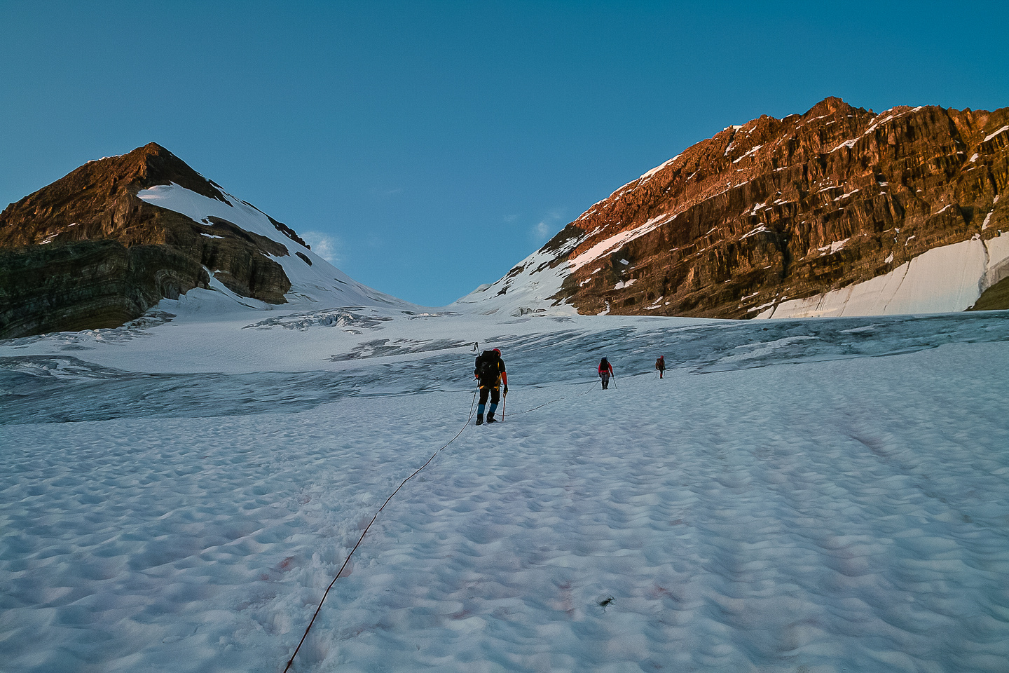 Early morning light as we head up the glacier - Vice President on the left, President on the right.