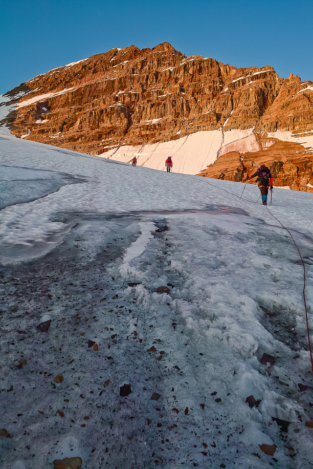 The glacier is melted out pretty good by this point. Alpine glow starting to show on the President.