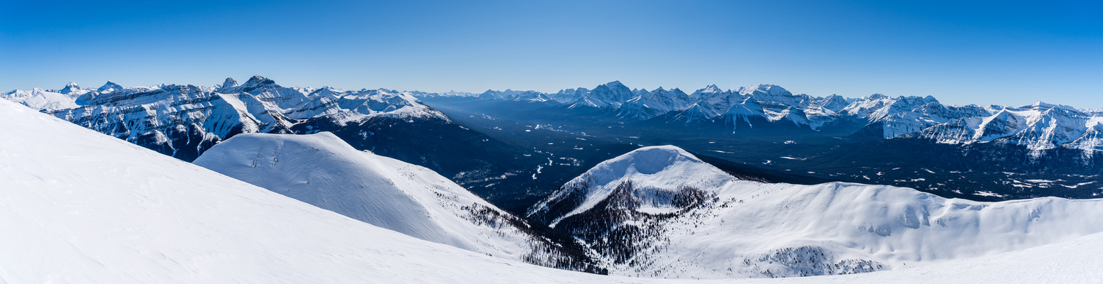Panorama from Skoki (L) to Lake Louise (C) to Yoho (R).