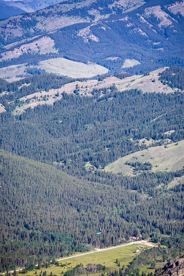 Telephoto of the helicopter landing area in the valley.