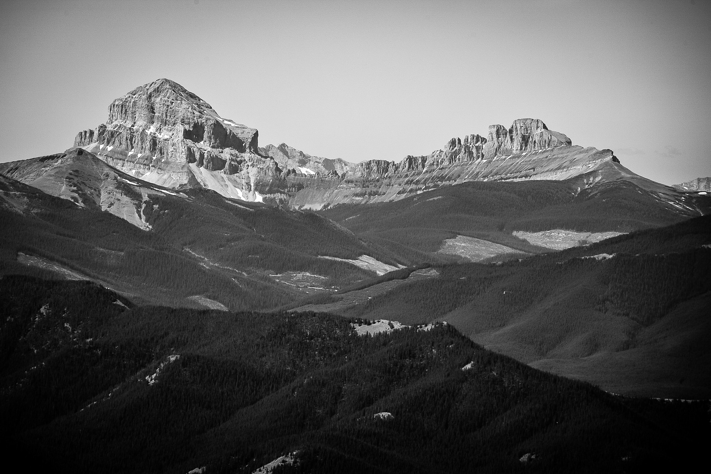 Crowsnest Mountain and Seven Sisters (R) steal the show.