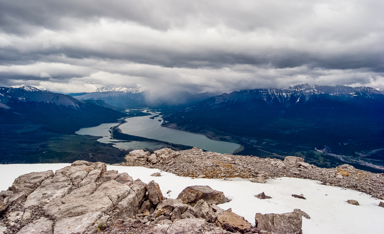 Rain is coming! Looking over Jasper (C) and Talbot (L) Lake.