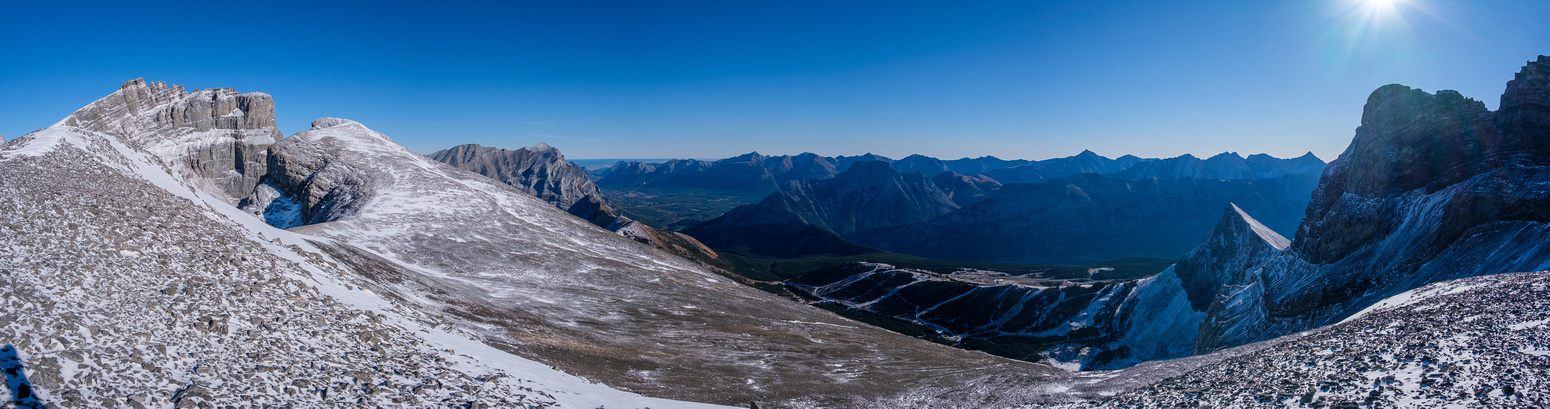 Views of the summit from a high point along the south ridge. The Fortress at left, Kidd to the right and the Fortress ski area at lower right with The Wedge rising over it.