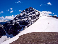 Wietse leads up snow slopes to the impressive summit of Haig.