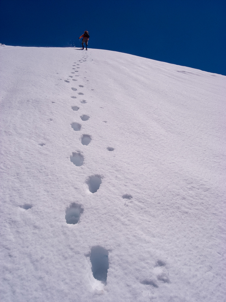 Never ending snow slopes to the summit!