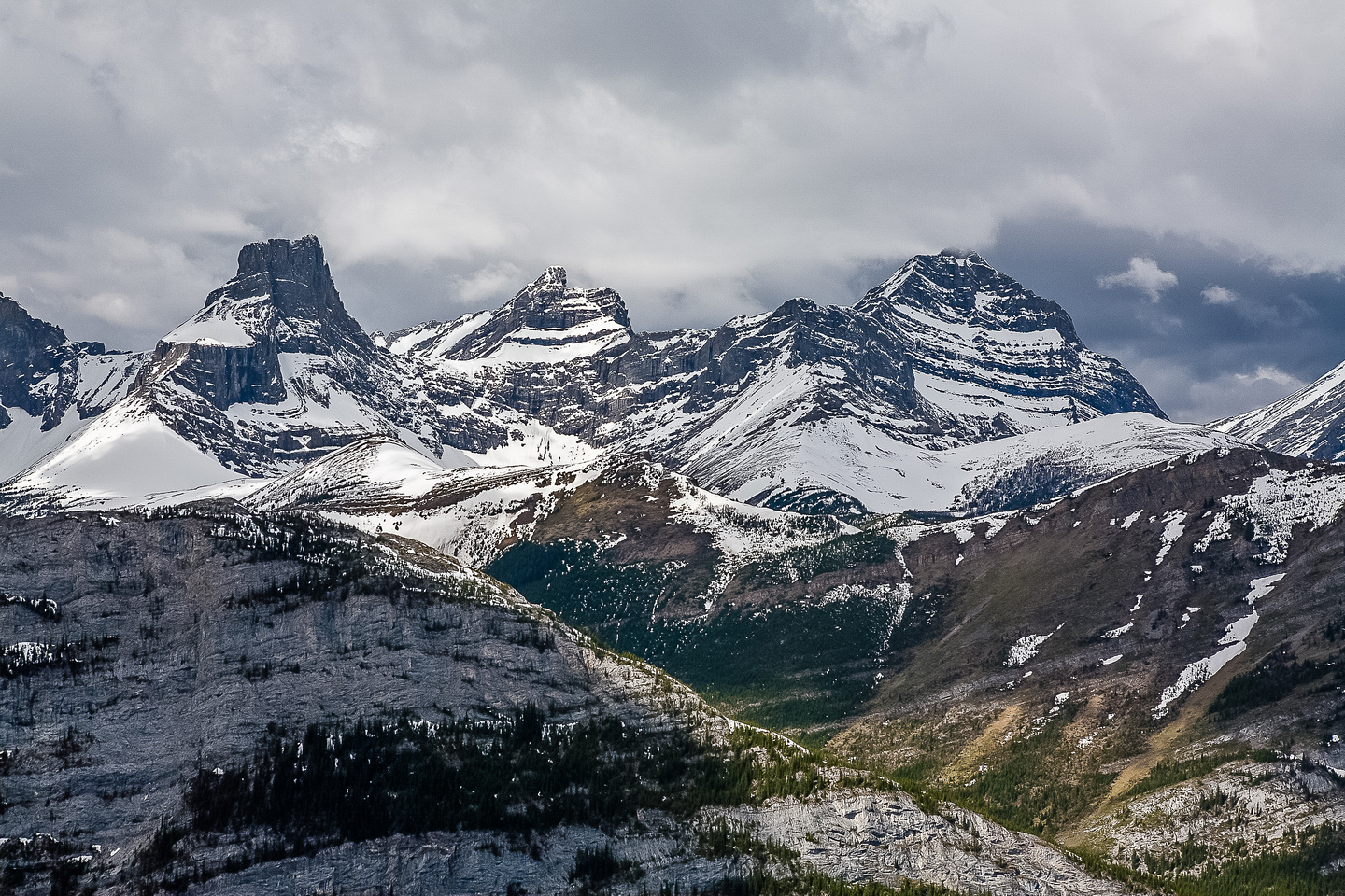 From left to right we have The Fortress, Gusty Peak and Mount Galatea.