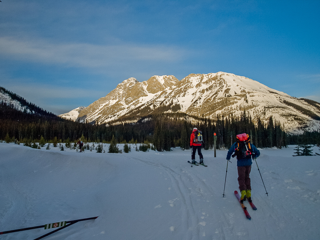 Skiing from the Burstall Pass parking lot.