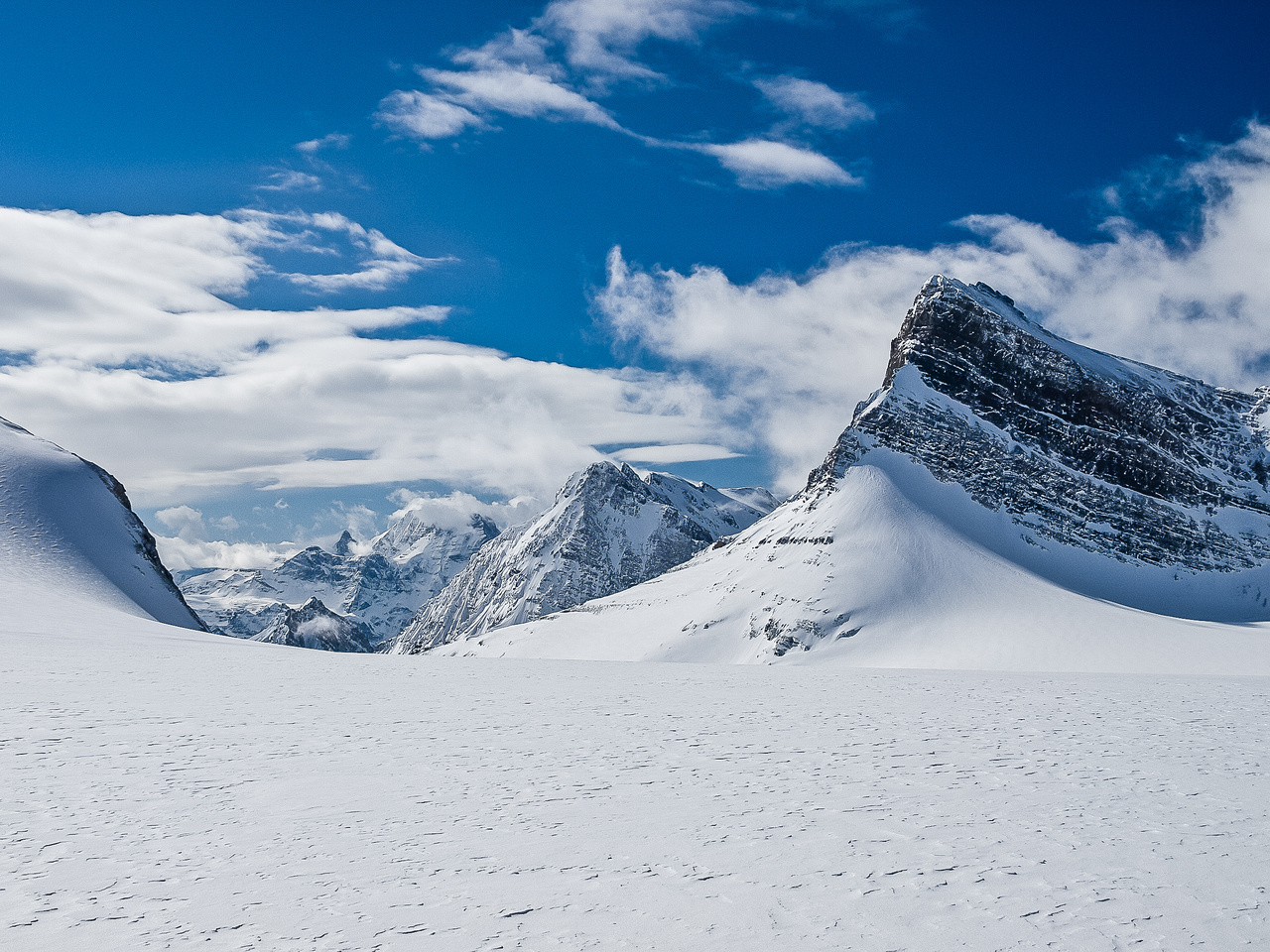 At the French / Robertson col with great views over the Haig Icefield.
