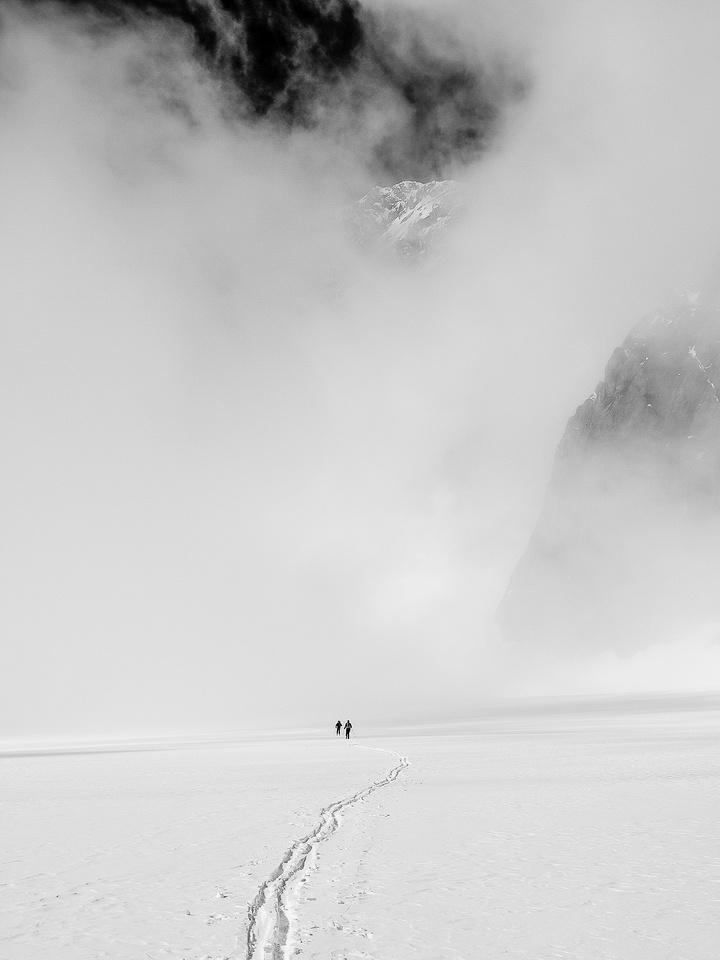 Clouds move in over the Haig Icefield as we traverse to the Sir Douglas / Robertson col.