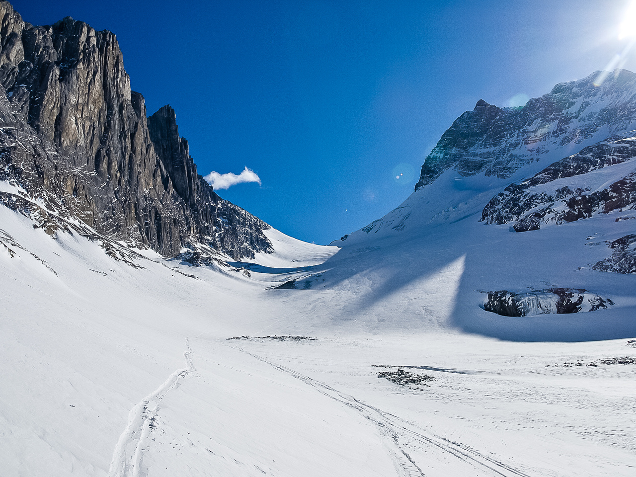 Skiing down the Robertson Glacier.