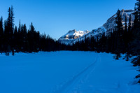 This skin track continues north along the Bow River. We want to go the other way to hit Hector Lake.