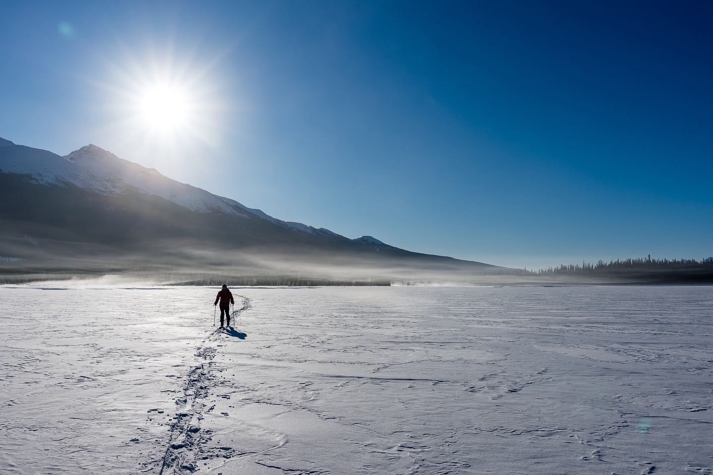 Crossing Hector Lake - note the ice fog.