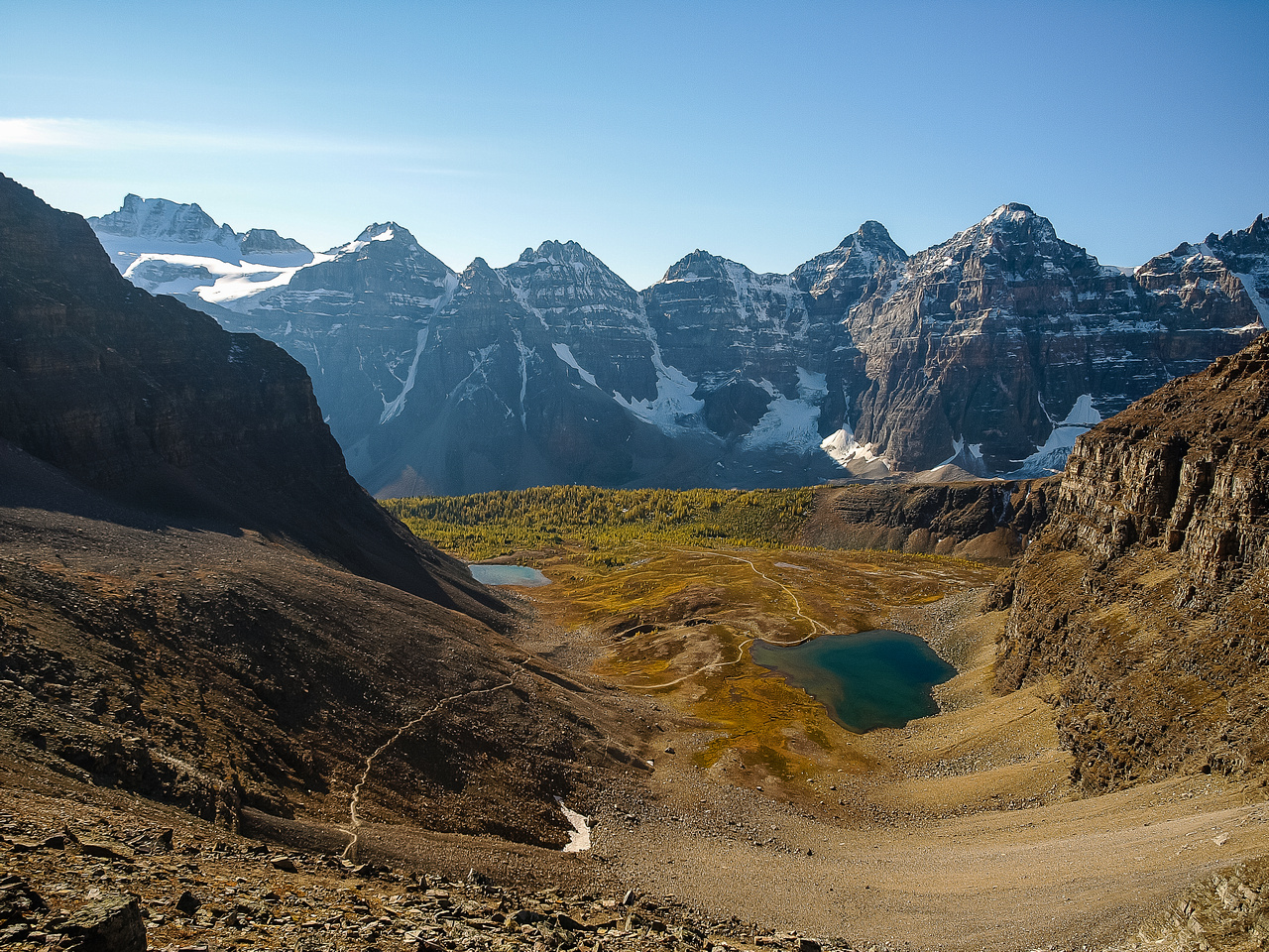 Gorgeous views into Larch valley from Sentinel Pass.