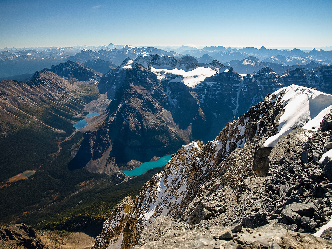 The view from my perch just to the east of the summit. Consolation Lakes and Moraine Lake sneak into view.