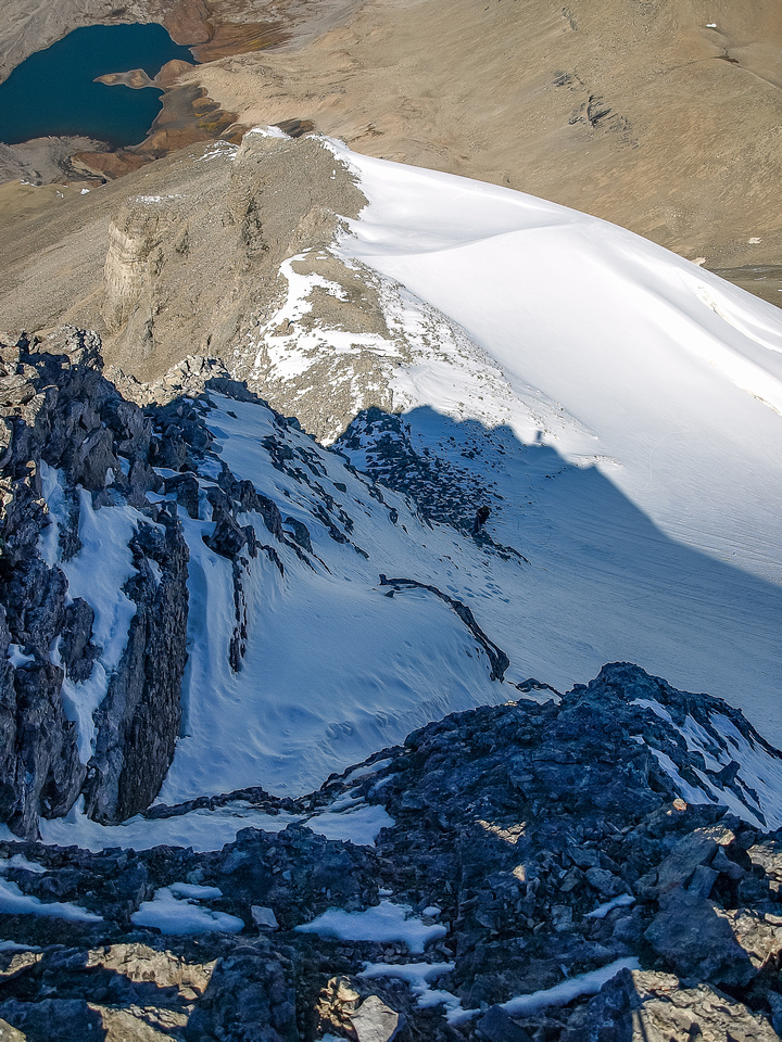 Looking down a steepish section of the NW ridge at Rod and my tracks, which are either on or just beside Nigel Glacier.