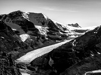 Incredible exposure and views off the SE shoulder looking down at the Athabasca Glacier and Mount Andromeda (L) and Bryce (R).