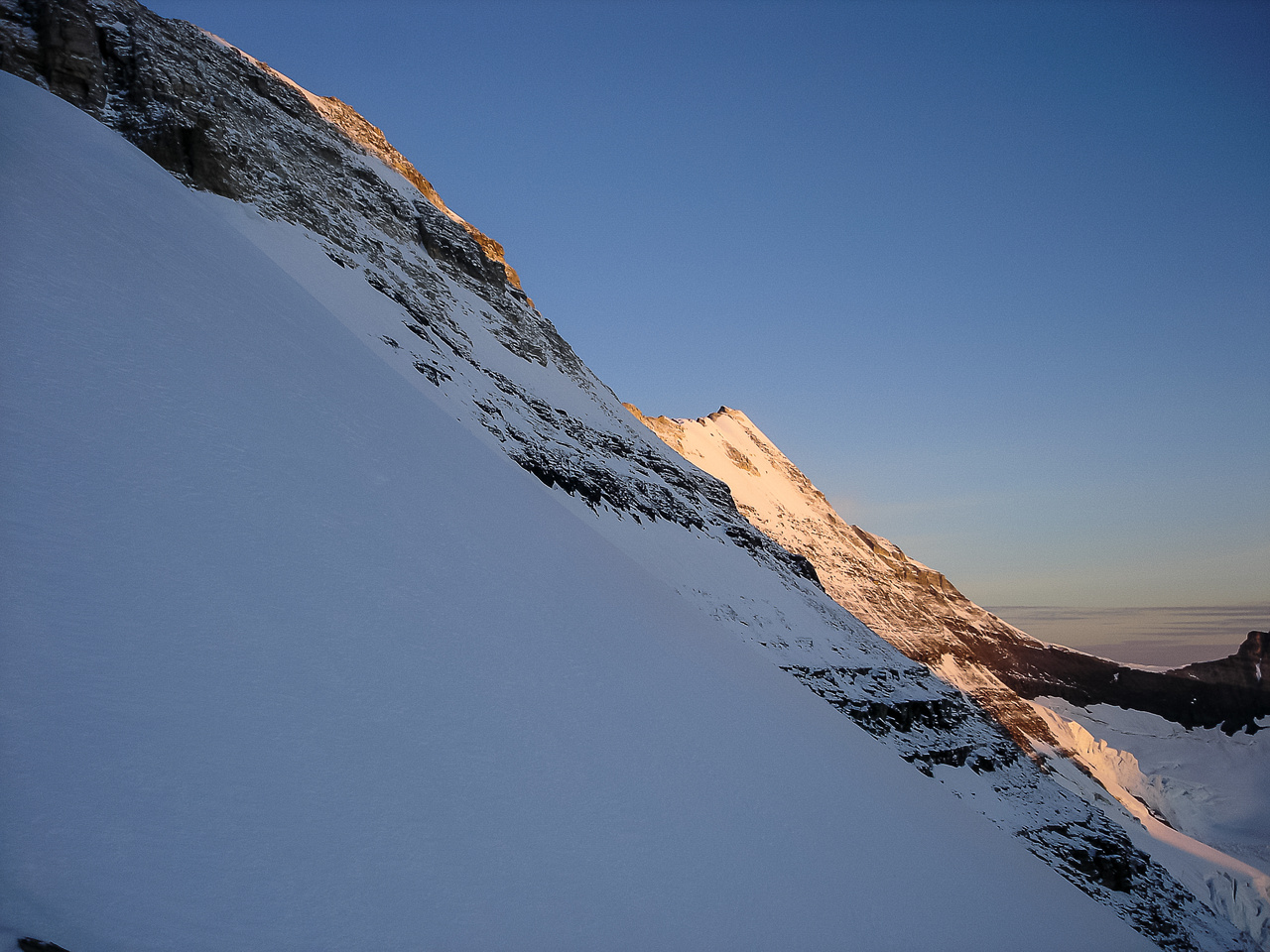 Early morning sun starts to light up the ridge. We are about 1.5 hours into it at this point.