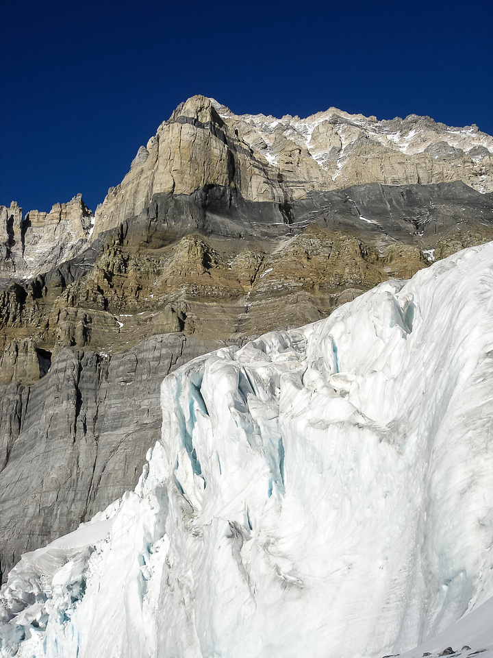 Part of the lower Huber Glacier with Mount Victoria's southwest face looming above.